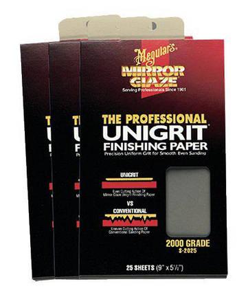 Водостійкий абразивний папір - Meguiar's Unigrit Finishing Papers 14х22,8 див. P2000 (S2025), фото 2