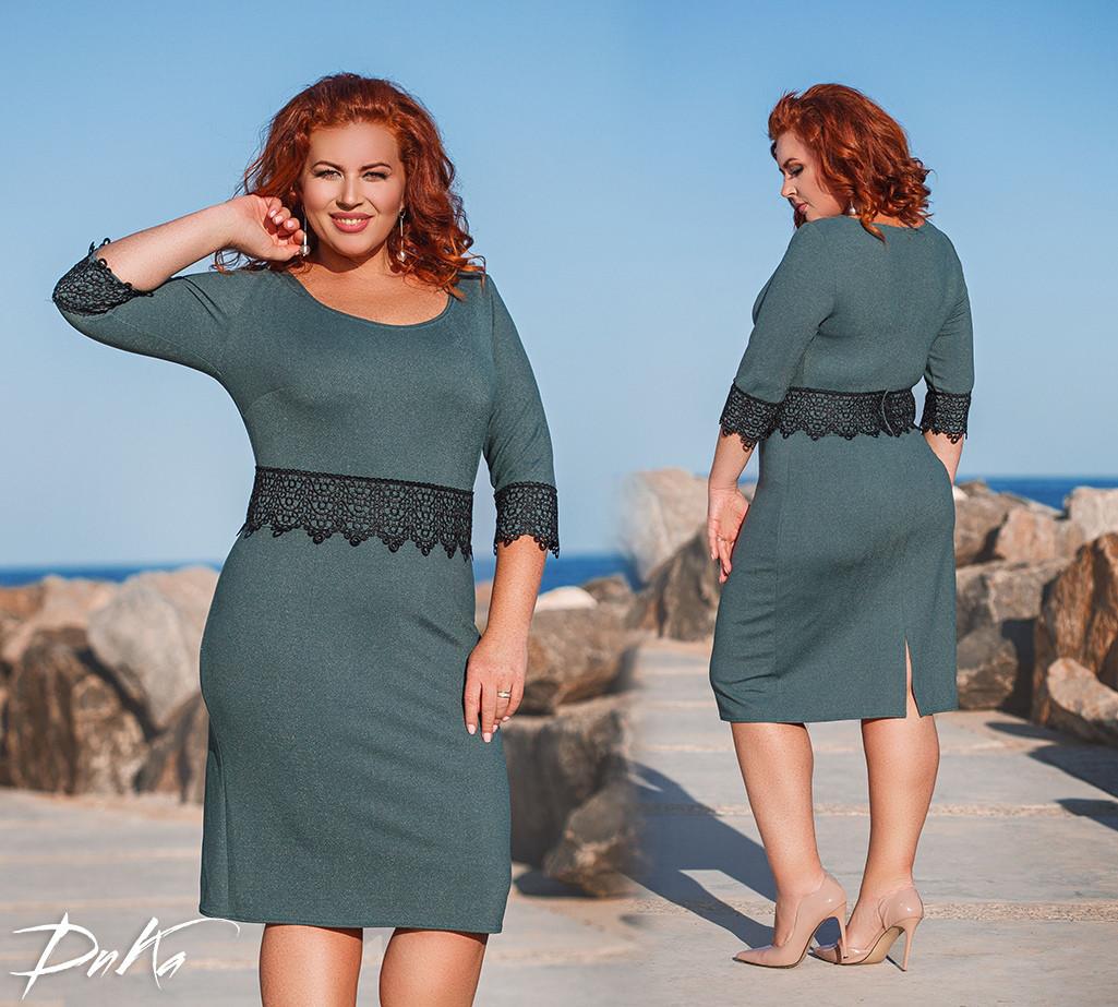a5d58e667d27fdb Элегантное женское платье рукав 3/4+кружево 4 расцв. от 42 до 56р ...