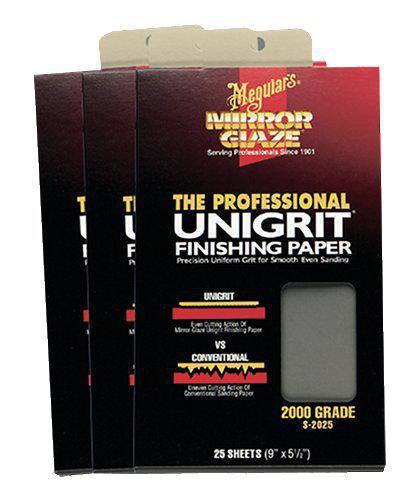 Водостойкая абразивная бумага - Meguiar`s Unigrit Finishing Papers 14х22,8 см. P2500 (S2525)