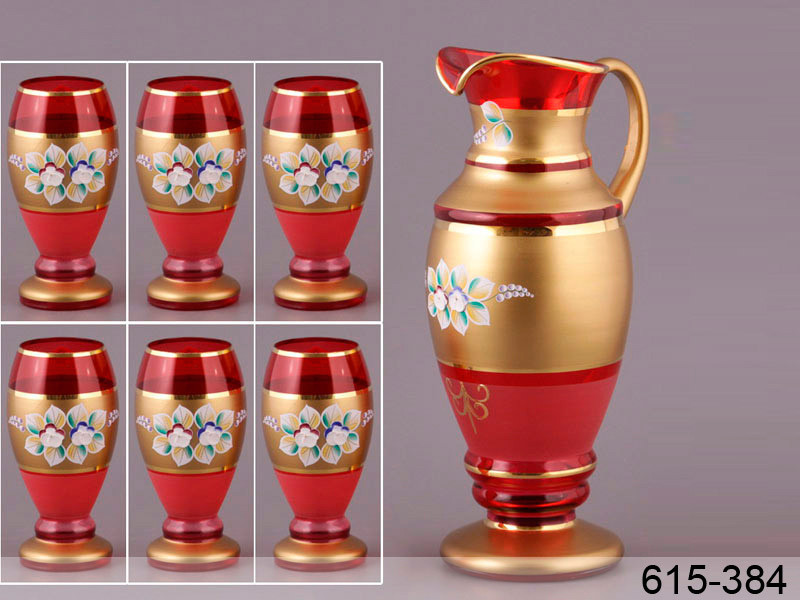 Набор питьевой для воды NB Art Красная лепка (Кувшин + стаканы 6 шт) , 615-384