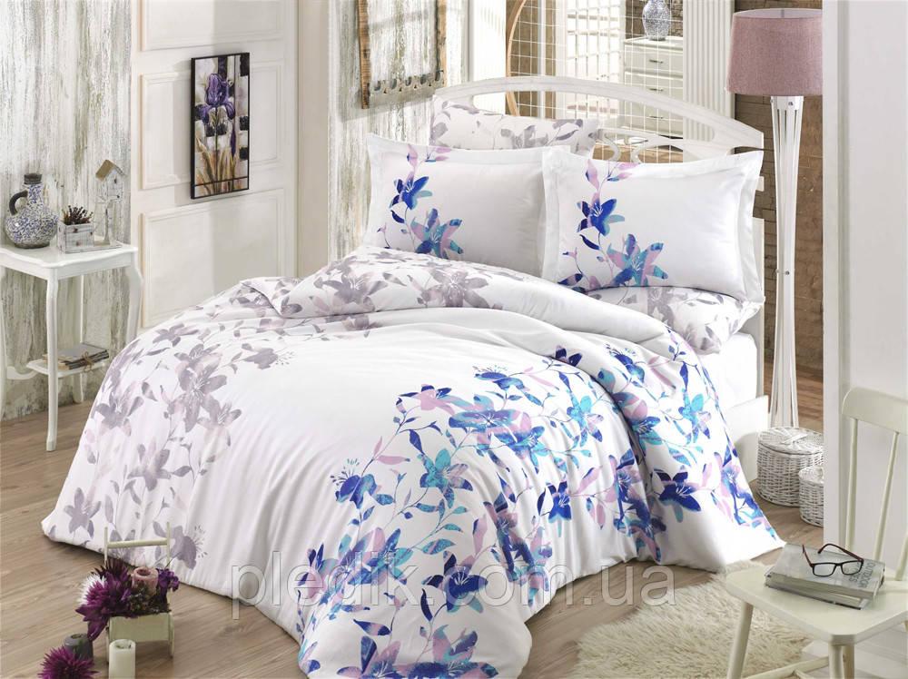 Комплект постільної білизни 200х220 HOBBY Exclusive Sateen Lucia блакитний