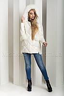 Зимний пуховик-куртка из экокожи ZL.YA (ZLLY) 18658 с натуральным мехом песца цвета молочный, фото 1