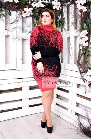 Женская вязаная туника-платье коралл больших размеров Майя, фото 2