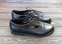 Женские туфли на шнурках черные Fabio Monelli