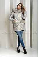 Зимний пуховик-куртка из экокожи ZL.YA (ZLLY) 18658 с натуральным мехом песца цвета жемчуг, фото 1