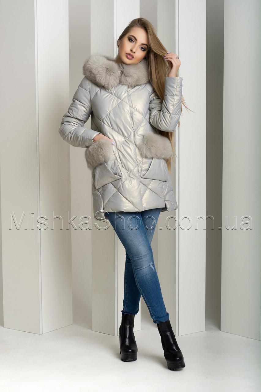 Зимний пуховик-куртка из экокожи ZL.YA (ZLLY) 18658 с натуральным мехом песца цвета жемчуг