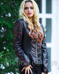 Женская куртка-жакет из экокожи с перфорацией (0519 svt)