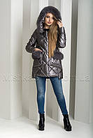 Зимний пуховик-куртка из экокожи ZL.YA (ZLLY) 18658 с натуральным мехом песца цвета графит, фото 1