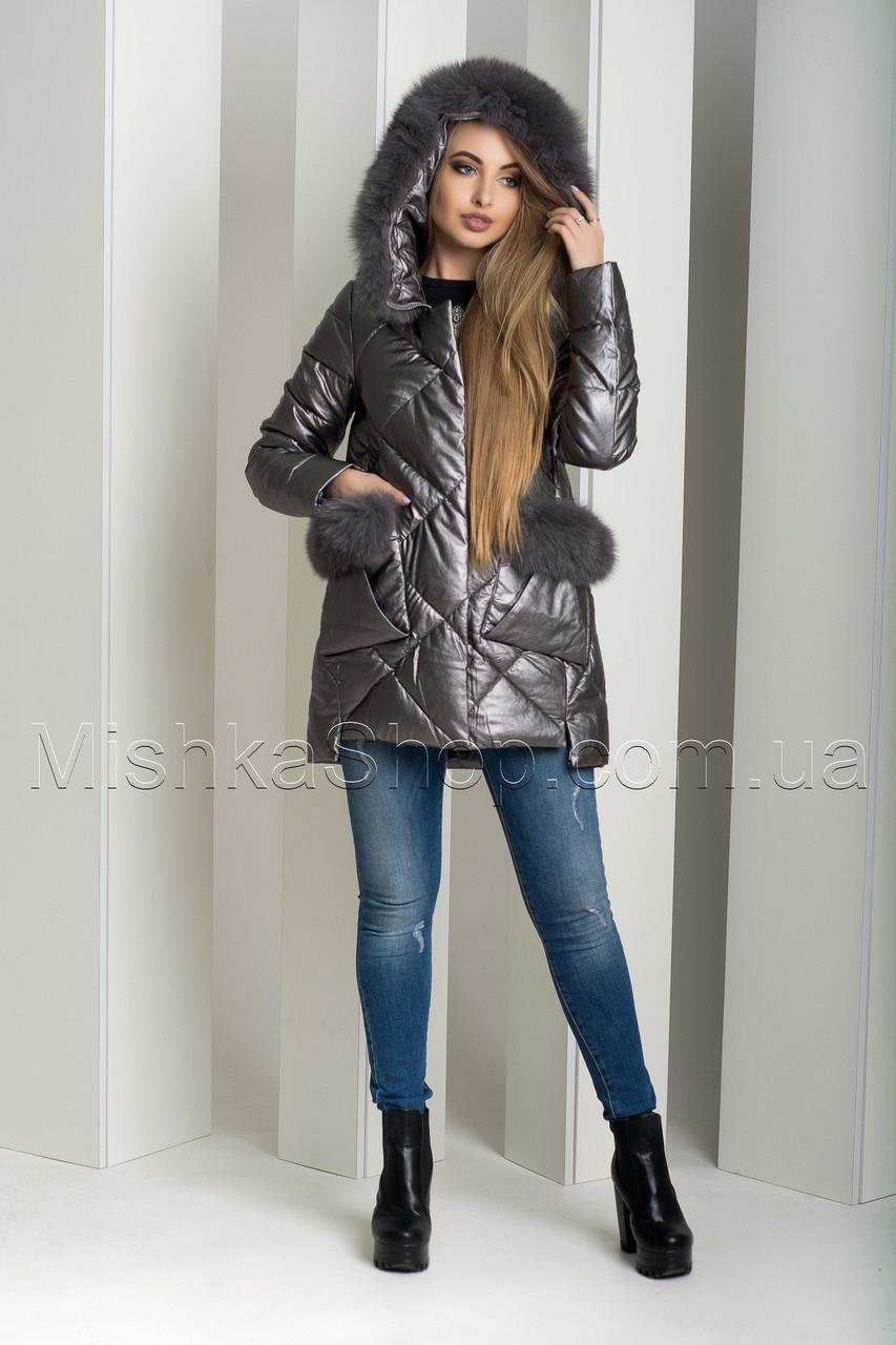 Зимний пуховик-куртка из экокожи ZL.YA (ZLLY) 18658 с натуральным мехом песца цвета графит