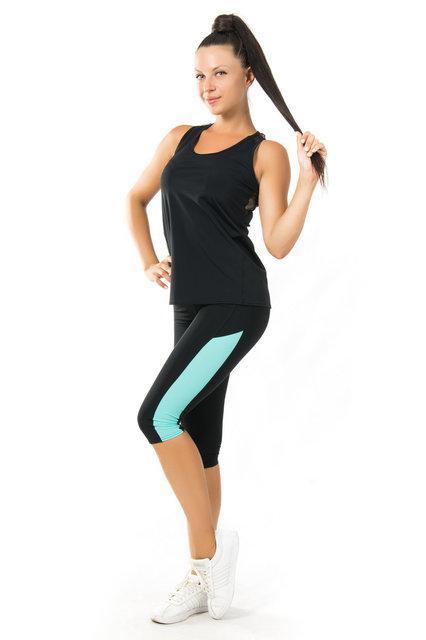 Спортивный комплект майка и бриджи для фитнеса (40,42,44,46,48,50,52) женская одежда для спорта ЧЕРНЫЙ-МЯТА