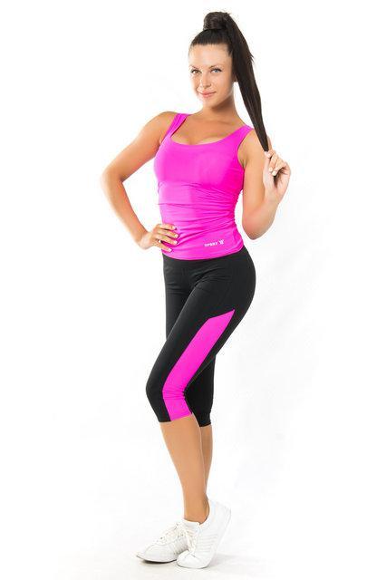 Качественная 0дежда для йоги и фитнеса (40,42,44,46,48,50,52) женский спортивный комплект майка и бриджи ПИНК