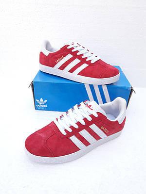 Женские Кроссовки  в стиле Adidas Gazelle замша красные