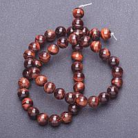 [d-8мм, L-38см] Гладкие шарики-бусины из натурального камня Бычий глаз на леске