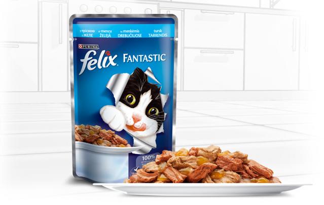 Вологий корм для кішок Felix Fantastic ( Фелікс Фантастік ) 100 гр з тріскою в желе.