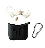 Чехол для AirPods силиконовый Protective Case 3 в 1 (Strap + карабин) Черный