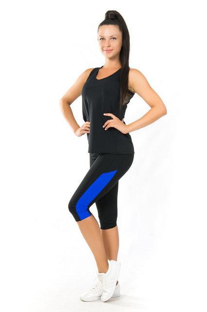 Одежда для йоги и фитнеса (40,42,44,46,48,50,52) женский спортивный комплект майка и бриджи ЧЕРНЫЙ-ЭЛЕКТРИК