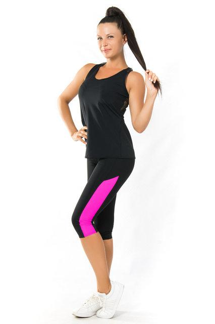 Комплект майка-борцовка и бриджи для фитнеса (40,42,44,46,48,50,52) женская одежда для спорта ЧЕРНЫЙ-РОЗОВЫЙ