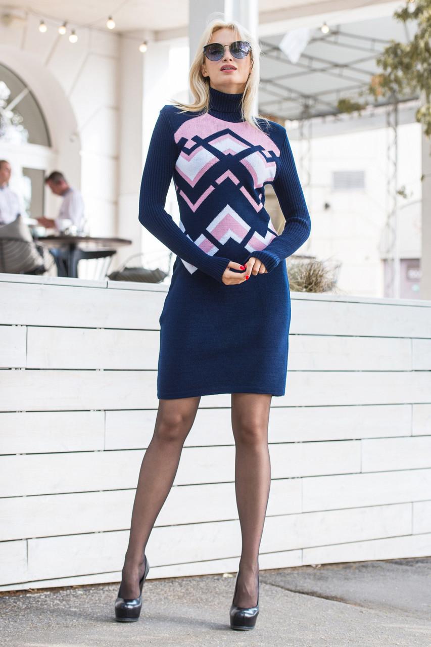 Платье вязаное цвет синий в узоры 42-46