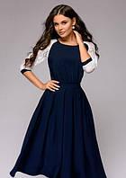 Клешное платье с гипюровы рукавом  PR6