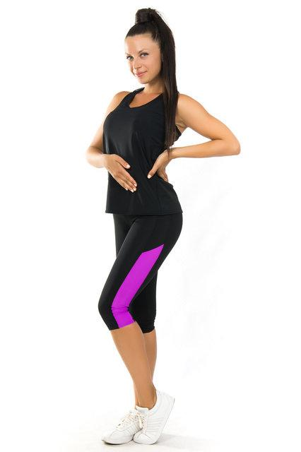 Одежда для йоги и фитнеса (40,42,44,46,48,50,52) женский спортивный комплект майка и бриджи  ЧЕРНЫЙ-ФУКСИЯ