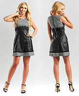 Платье женское короткое комбинированое из экокожи с кружевом P10481