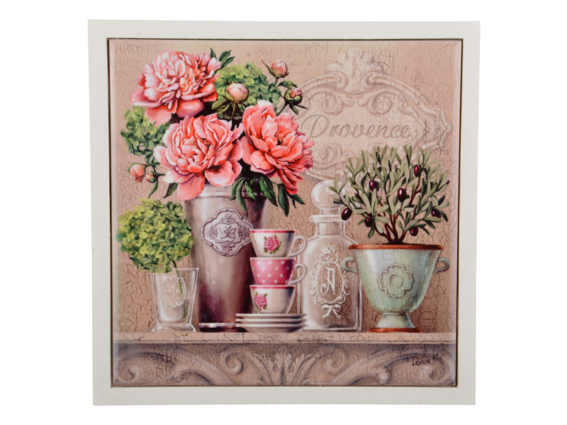 """Подставка-картина """"Цветы прованс"""" 15х15 см, керамика+дерево, Lefard, 072-017"""
