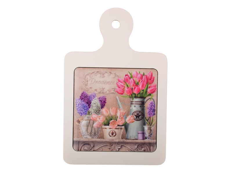 """Досточка """"Весенние Цветы"""" керамика+дерево 15,5х14,5 см, Lefard, 072-032"""