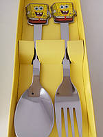 Детский набор ложка вилка Губка Боб, фото 1
