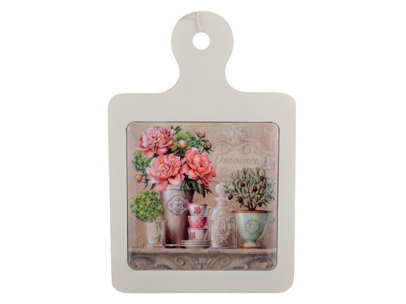 """Досточка """"Цветы прованс"""" керамика+дерево 15,5х14,5 см, Lefard, 072-034"""