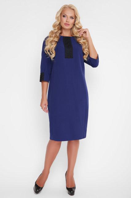 40c42efa24cbfd2 Женское стройнящее платье с кружевом Аманда цвет электрик / размер 52-58 /  для полных
