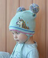 Шапка для девочки осенняя с вышивкой Пони и пайетками, фото 1
