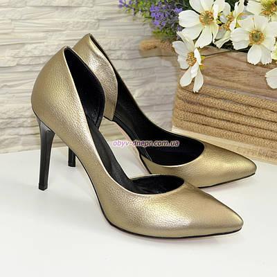 Женские туфли на шпильке, из натуральной кожи бронзового цвета