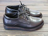 Туфли женские на танкетке черного цвета на шнуровке, фото 1