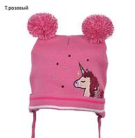 Вязаная шапка детская для девочки на осень, фото 1