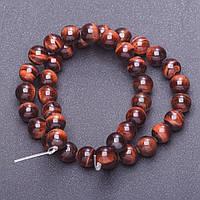 [d-10мм, L-38см] Гладкие шарики-бусины из натурального камня Бычий глаз на леске