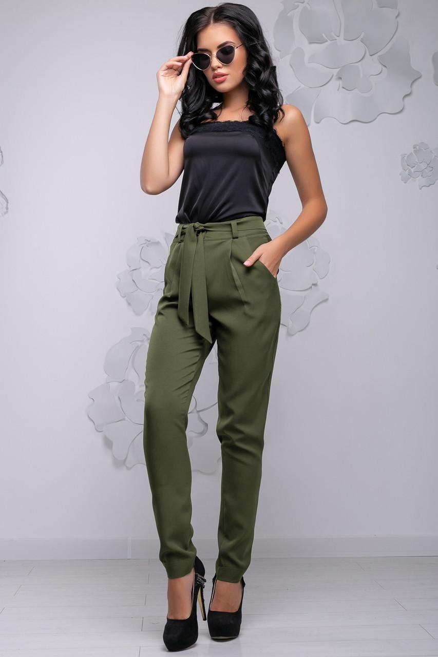 Женские брюки свободные р. от 44 до 54, зауженные к низу, хаки, костюмка