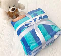Плед детский флисовый с голубым Мишкай