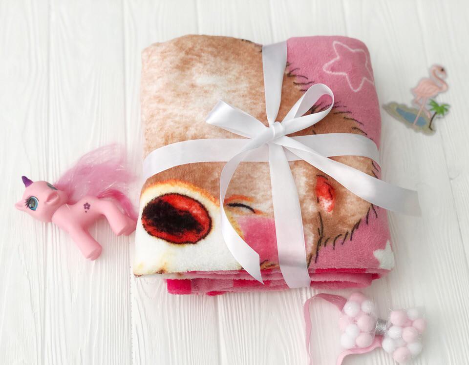 Плед детский флисовый гипоаллергенный с розовым Мишкай