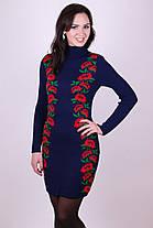Черное вязаное шерстяное платье теплое в украинском стиле с цветами 42-46, фото 3