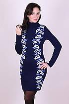 Черное вязаное шерстяное платье теплое в украинском стиле с цветами 42-46, фото 2