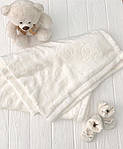 """Плед детский флисовый  с выдавленым рисунком  """"Слоники"""" молочного цвета, фото 6"""