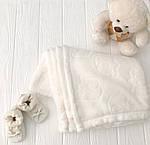 """Плед детский флисовый  с выдавленым рисунком  """"Слоники"""" молочного цвета, фото 8"""