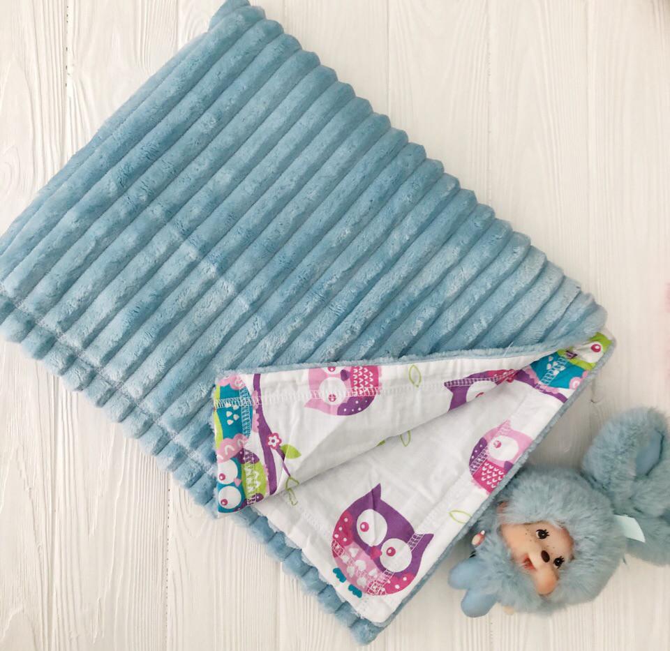 """Плед для младенца  с полосатым плюшем Minki  """"Цветные совушки"""" Голубого цвета"""