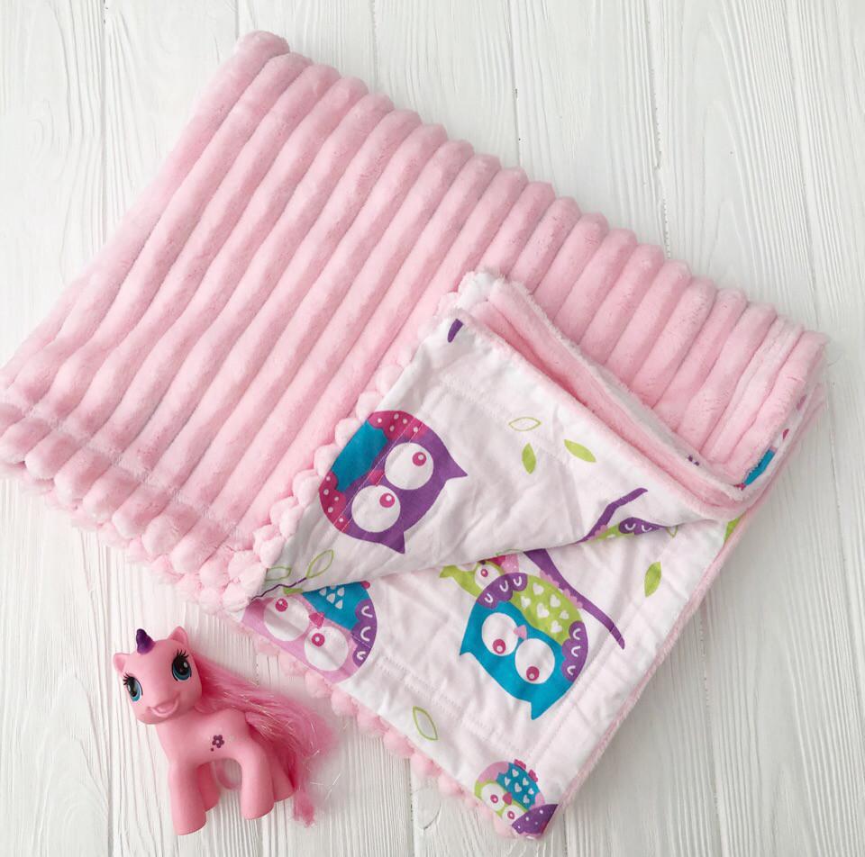 """Плед детский с полосатым плюшем  Minki  """"Цветные совушки""""  Розового цвета"""