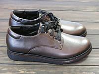 Туфли женские на танкетке темно-серого цвета на шнуровке, фото 1