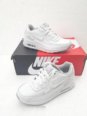 Женские Кроссовки в стиле Nike Air Max 90 белые кожа