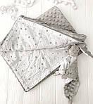 """Плед для новорожденного с плюшем Minki в пупырышках """"Звезды на белом"""" Серого цвета, фото 6"""