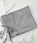 """Плед для новорожденного с плюшем Minki в пупырышках """"Звезды на белом"""" Серого цвета, фото 7"""
