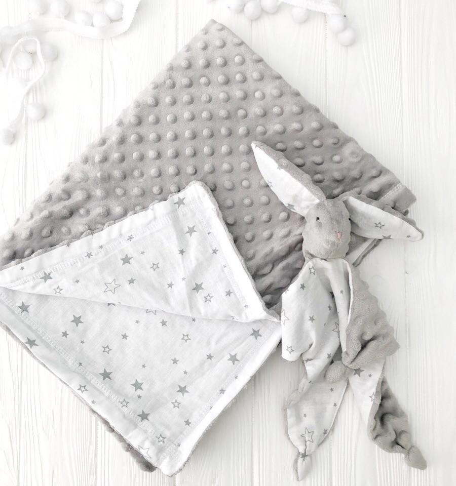 """Плед для новорожденного с плюшем Minki в пупырышках """"Звезды на белом"""" Серого цвета"""