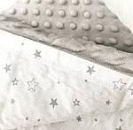 """Плед для новорожденного с плюшем Minki в пупырышках """"Звезды на белом"""" Серого цвета, фото 8"""
